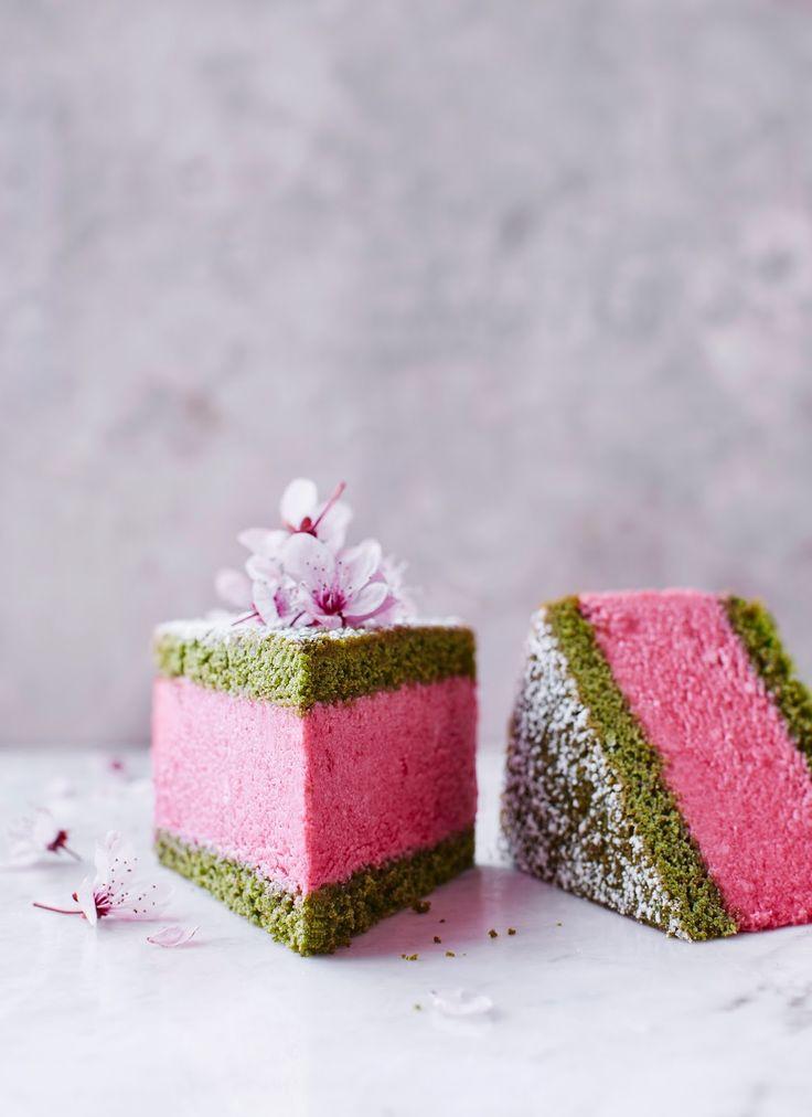appledrane: Cherry, matcha & sakura mousse cake