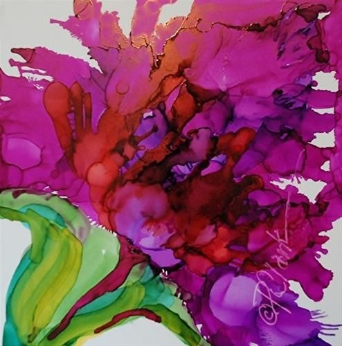 Blushing Beauty, 5 x 5 inch Alcohol Ink, Floral - Original Fine Art for Sale - © by Donna Pierce-Clark