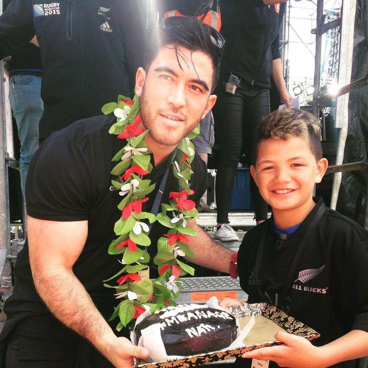 Nehe Milner-Skudder with his biggest fan Kuratiwaka Ngarimu