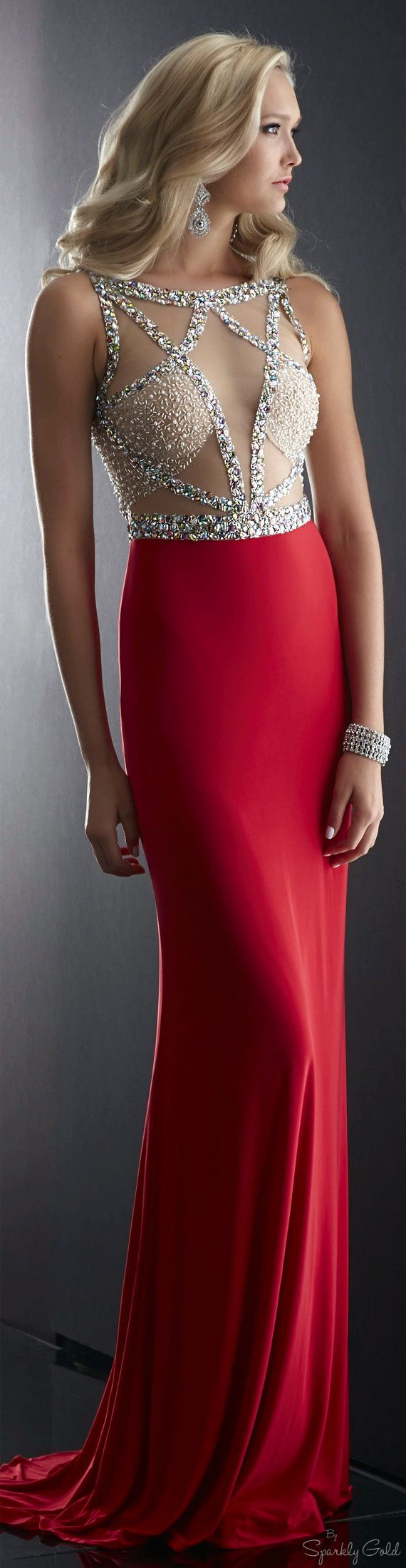 Maxi prom dress silver top red bottom. women fashion outfit clothing style apparel @roressclothes closet ideas