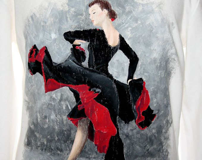 Hand painted girl's t shirt. I use non-toxic, water based, permanent fabric colors. | A flamenco dancer wearing a black and red dress, on an expressive background made of visible strokes.