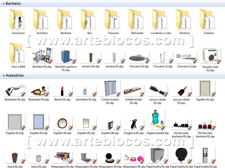 Amostra de Blocos Sketchup de acessórios para banheiro, vasos, maquiagem, banheira, box, pia, lavatórios, cubas, mictórios, torneiras, chuveiro, barras de apoio para pne ou cadeirante ou deficiente físico, tudo em 3d.