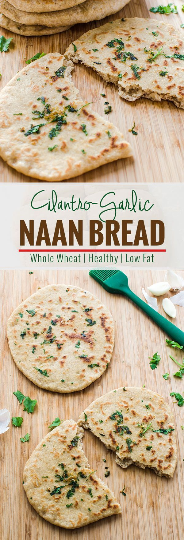 Learn to make garlic naan bread that contains whole wheat flour & no butter. Even though it is super soft & delicious to eat. It is a must try recipe. | watchwhatueat.com