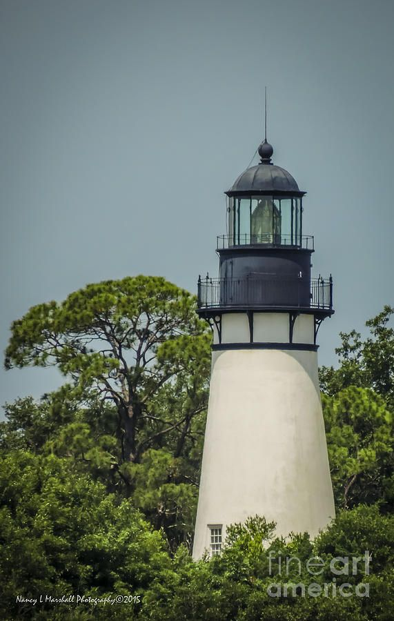 Amelia Lighthouse across from Evans Creek, Fort Clinch State Park, Fernandina Beach, Florida by Nancy L Marshall