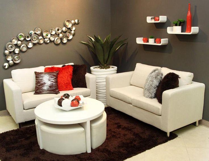 Sala gris blanca u roja decoraci n casa pinterest for Decoracion casa rojo