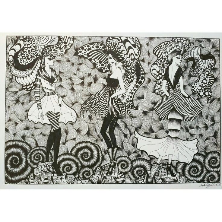 fashion drawing in my style alien girls in black and white