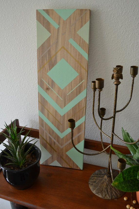 Geometric Mint Wood Art/Jewelry Display by DewyBranchDesign, $55.00