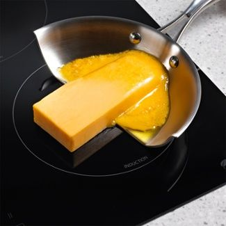 Cheese on an induction cooktop. Heats only with metal.