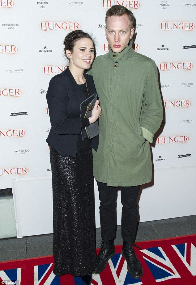 Hot couple: Hayley Atwell and new boyfriend Evan Jones attend the Hunger magazine cover pa...