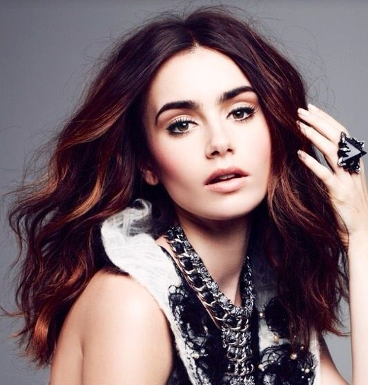 Hair. Lily Collins, copper highlights