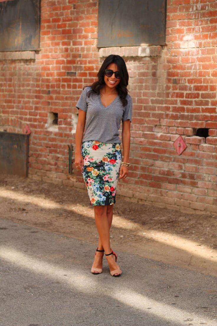 {american apparel v-neck // asos floral skirt // zara heels - last season (similar here) // sole society 'smythe' sunnies}