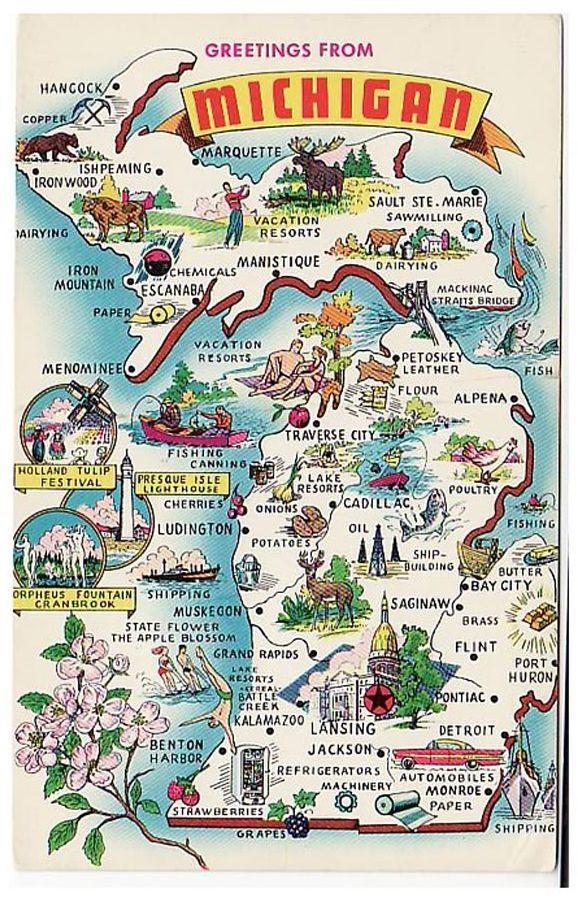 capitale lansing michigan state map michigan travel vintage michigan pinterest