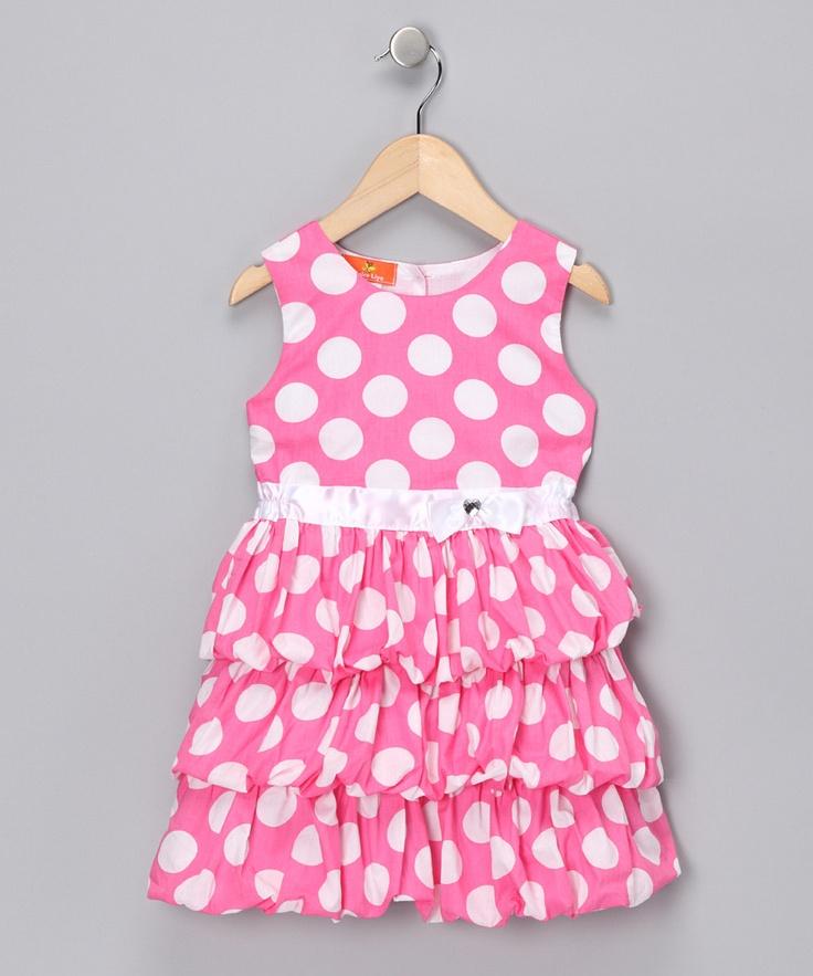 Pink Polka Dot Dress from Mikko Kids on #zulily #girls #fashion #cute #style
