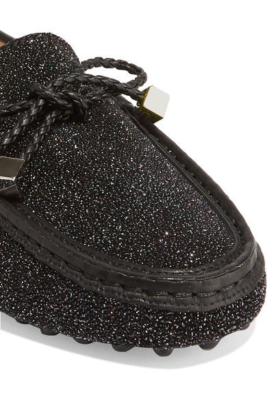 Tod's - Gommino Leather-trimmed Glittered Suede Loafers - Black - IT35.5
