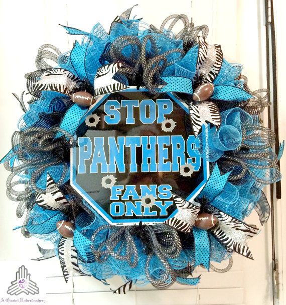 """SALE  Carolina Panthers """"Stop Panthers Fans Only"""" Ruffle Deco Mesh Wreath"""