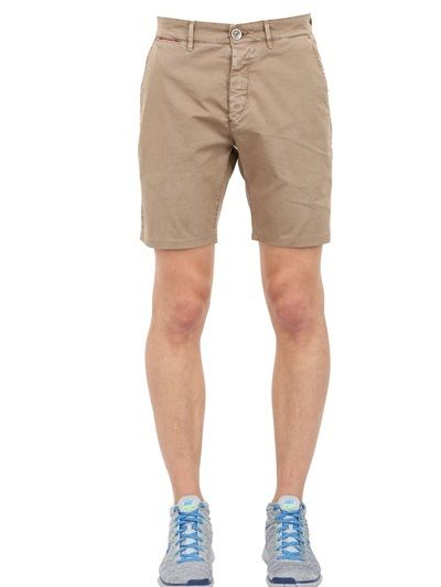 $33, Brown Shorts: Unlimited Cotton Chino Bermuda Shorts. Sold by LUISAVIAROMA. Click for more info: https://lookastic.com/men/shop_items/235047/redirect