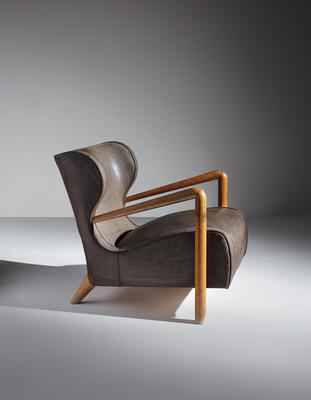 Artist: Jean Royère Title: Rare wingback armchair Medium: Oak, coated canvas. Dimensions: 27 x 25 x 32 in. (68.6 x 63.5 x 81.3 cm) Lot Number: 438 Estimate: $100,000 - 150,000
