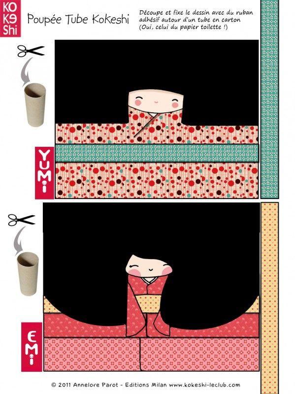 Les poupées tube Kokeshi - Kokeshi