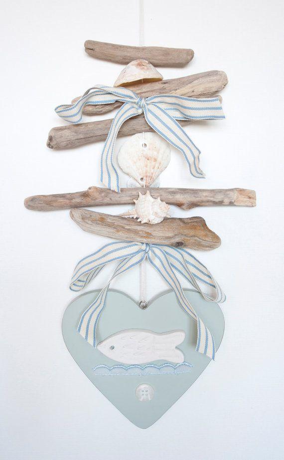 Coastal driftwood hanging duck egg blue heart by driftwooddreaming