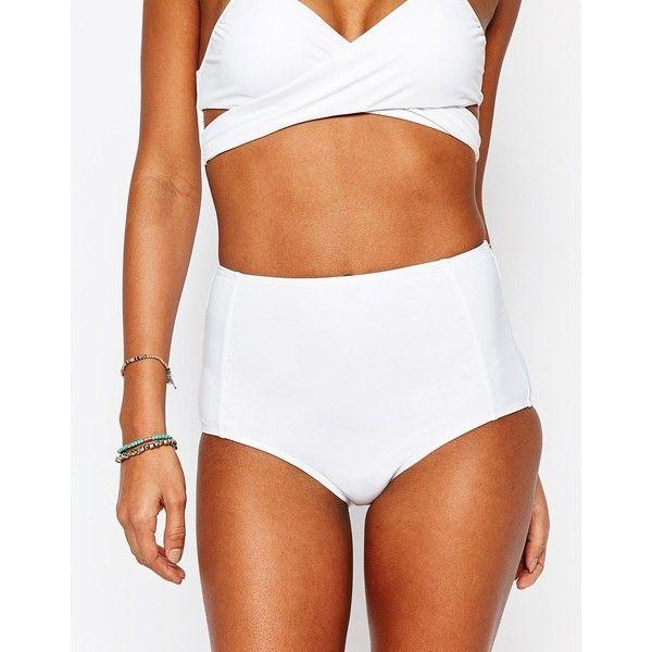 South Beach Mix and Match High Waist Bikini Bottom (£17) ❤ liked on Polyvore featuring swimwear, bikinis, bikini bottoms, white, high waisted two piece, white bikini, bottom bikini, high rise bikini bottom and swim bikini