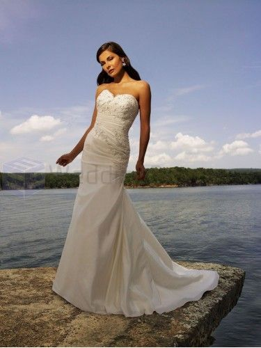 A-line Taffeta Ruched Bodice Sweetheart Neckline Sweep Train Wedding Dresses