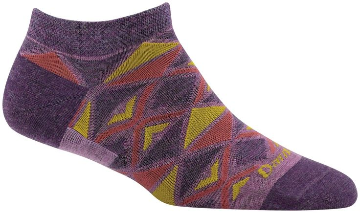 Darn Tough EL Sarape No Show Light Sock - Women's Plum Medium. Built Every Bit As Tough As All Our Hike, Vertical And Running Socks. Merino Wool Delivers All-Season Comfort In Both Cold And Warm Weather. Fine Gauge Knitting. Less Bulk. Superior Fit. Still made in Vermont, USA. Still unconditionally guaranteed for life.