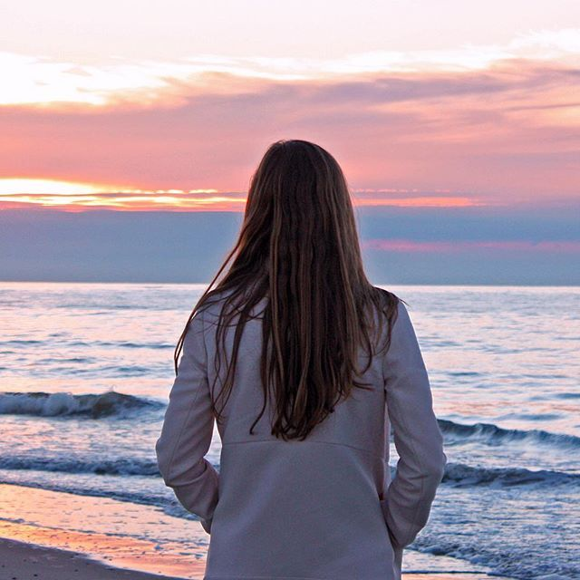 Watching the sun setting over the North Sea #sunset #island #northsea #beach #view #waves #ocean #nature #sky #outdoors #girl #texel #texelmomentje #wadden #superholland #netherlands #wonderful_holland #thisisholland
