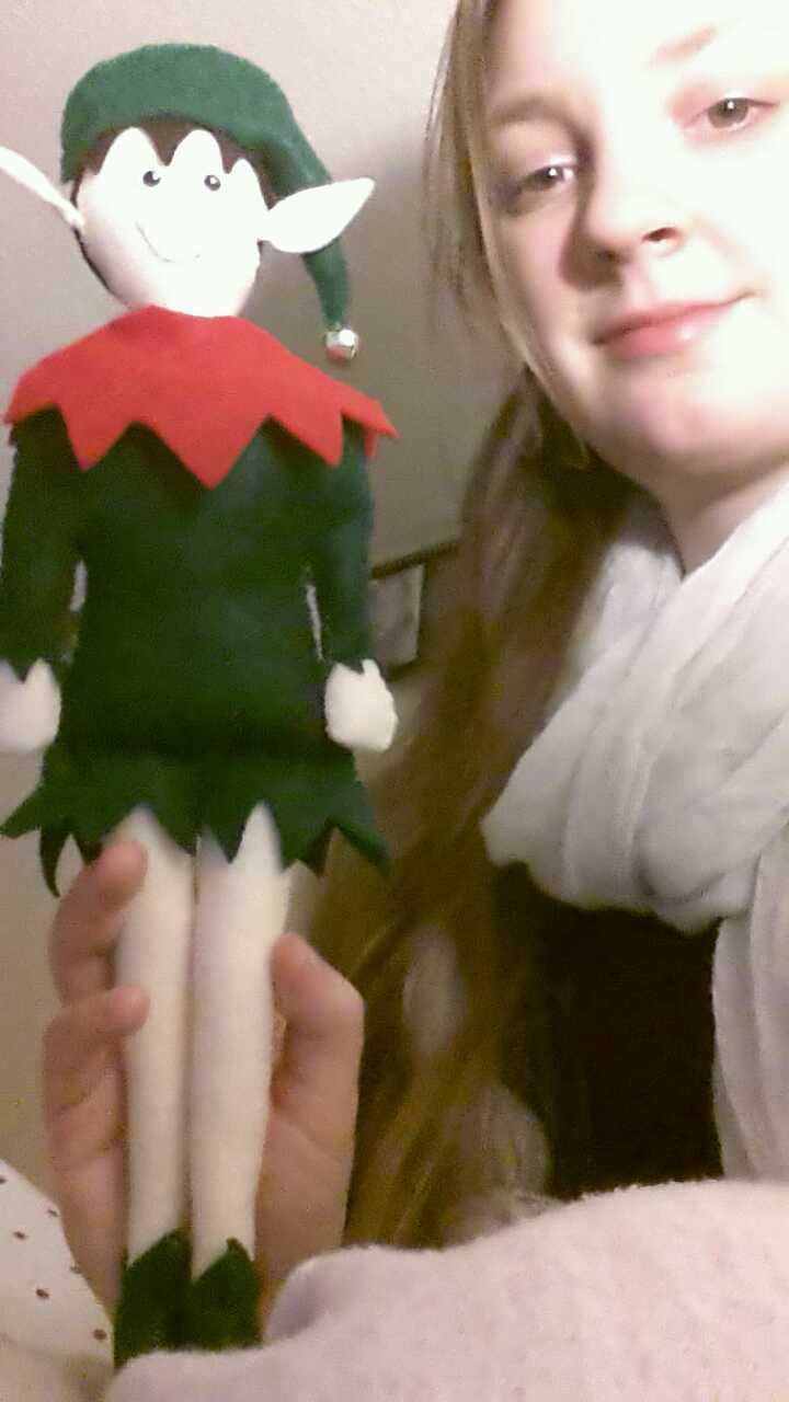 Handmade Christmas Elf Doll - felt, jingle bell
