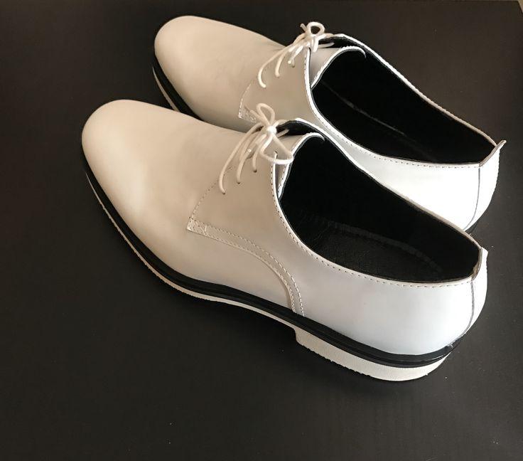 Handmade men white derby bespoke shoes genuine leather