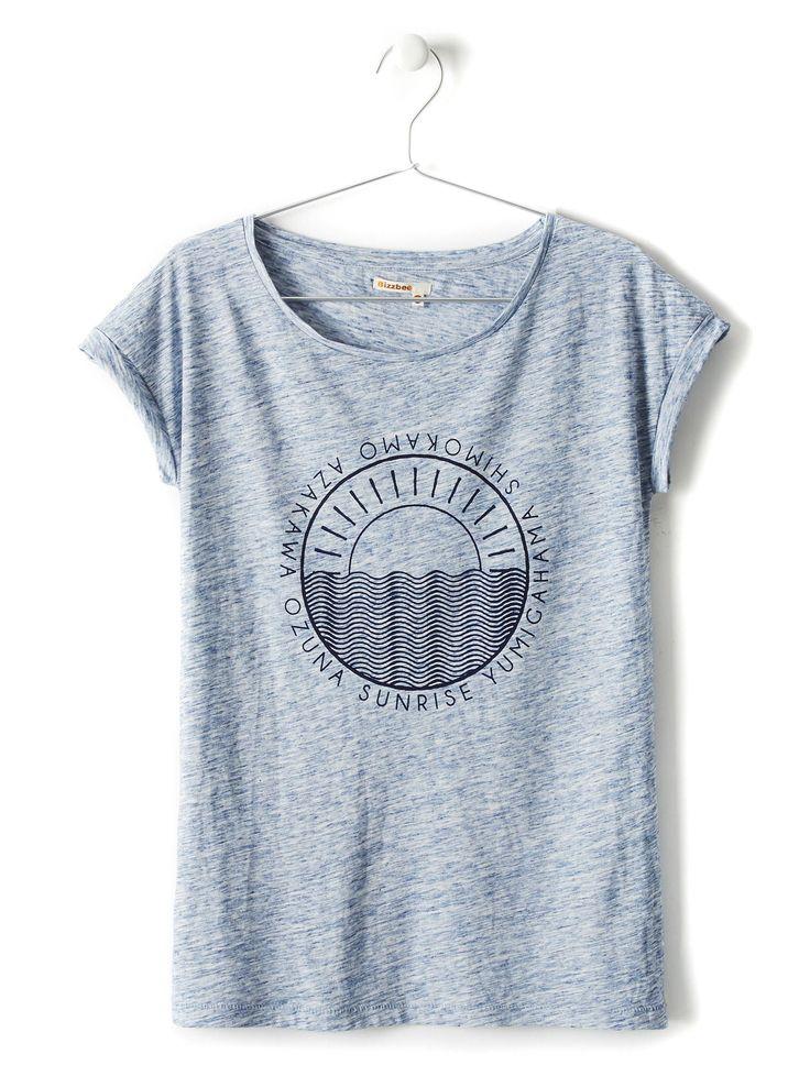 Tee-shirt manches courtes imprimé vague soleil femme | Bizzbee
