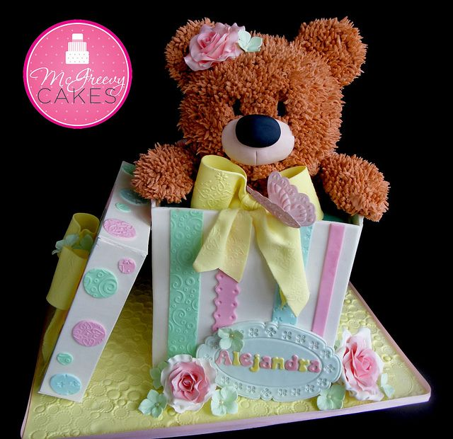 1st birthday cake-teddy bear in a box, change a few colours to make it for a boy