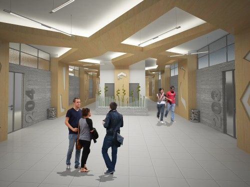 Interior design concept of a Hall space in the Civil Engenering & Architecture Faculty / Nis / Serbia