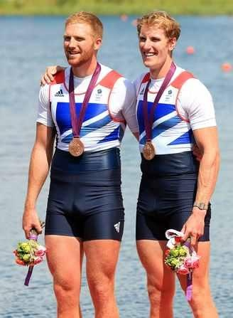 George Nash and William Satch celebrate their bronze medals won in the final of the Men's Pair