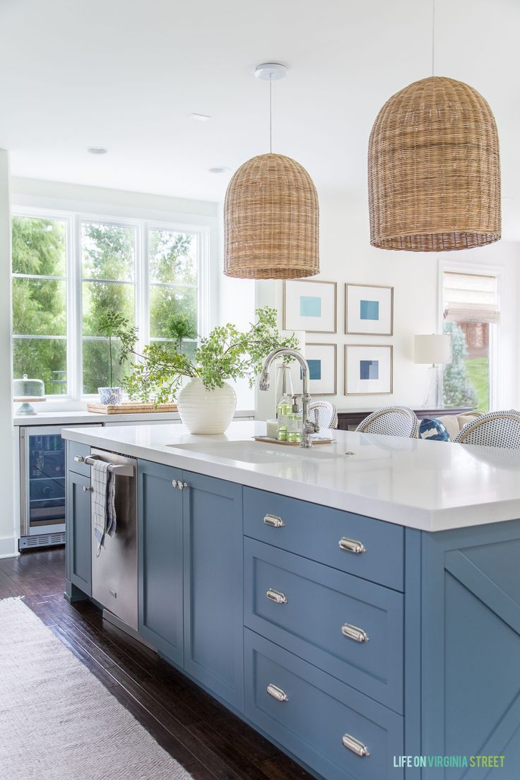 The Best Blue Gray Paint Colors Life On Virginia Street Coastal Inspired Kitchens Blue Kitchen Island Grey Blue Kitchen