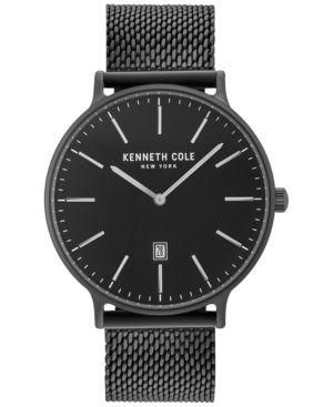 Kenneth Cole Men's Black Stainless Steel Mesh Bracelet Watch 42mm KC15057012 - Black