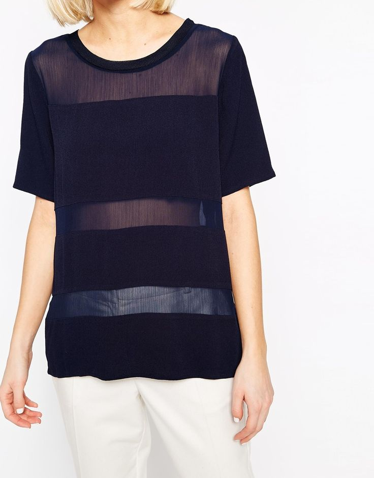 Image 3 of Selected Ofelia T-Shirt with Sheer Panels