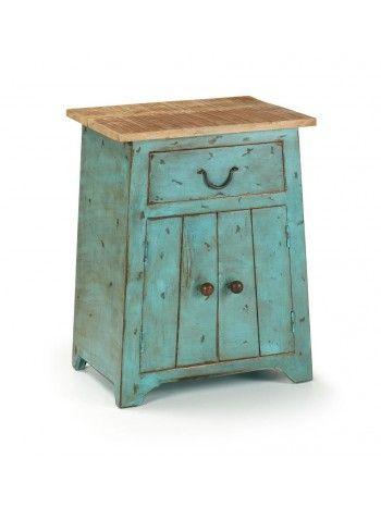 AGUA con struttura in legno color turchese finitura invecchiata con cassetto e anta stile provenzale decapato.