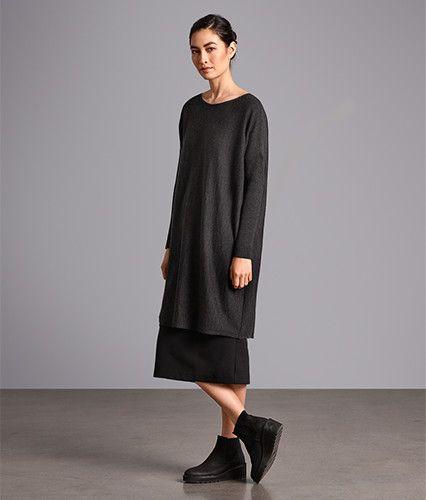 Midi diseñador vestidos para las mujeres | EILEEN FISHER
