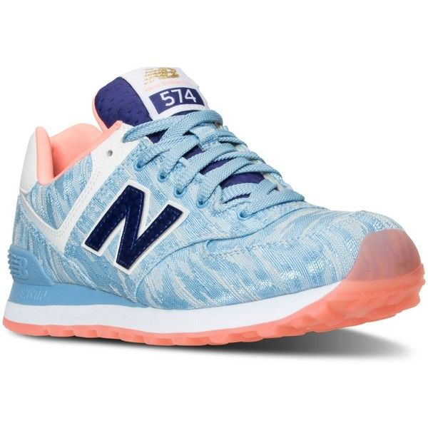 New Balance Women's 574 Summer Waves Casual Sneakers from Finish Line ($80) ❤ liked on Polyvore featuring shoes, sneakers, sand shoes, beach shoes, new balance footwear, new balance sneakers and summer footwear