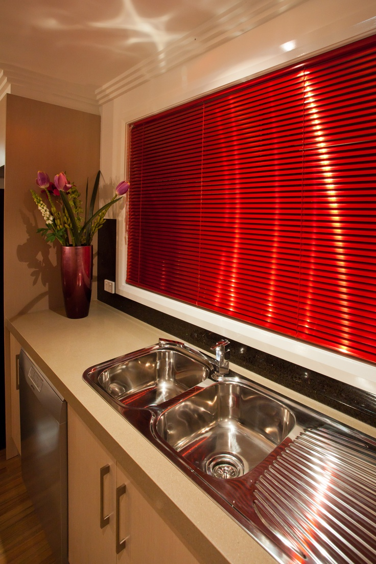 Kitchen sink with matching black glass tap landing and sliding cover - Inspiration For Metallic Blinds Above The Kitchen Sink