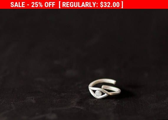 SALE Boho Silver Ring Evil Eye Jewelry Spiritual Gift