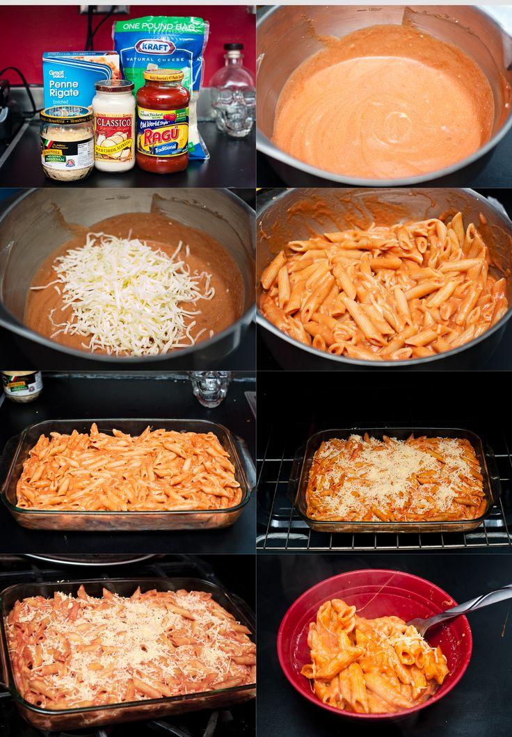 Two Timing Pasta Supplies: - Penne Pasta - 1 jar Alfredo Sauce - 1 jar of Marinara Sauce - Mozzarella Cheese (this is what my husband likes!) - Parmesan Cheese - Baking dish Instructions: This is ...