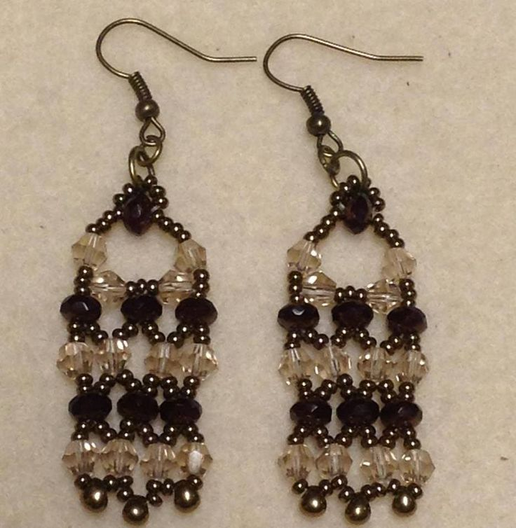 Victorian Lace Earrings Tutorial--Material: 24-4mm Bicone crystals 14-3x5mm Fire polished donut beads 6-Miyuki drop beads 11/0 seed beads 2-4mm jump rings 2-6mm jump rings 2- ear wires Approx. one and one-half yard of 6lb Fireline size 10 or smaller beading needle