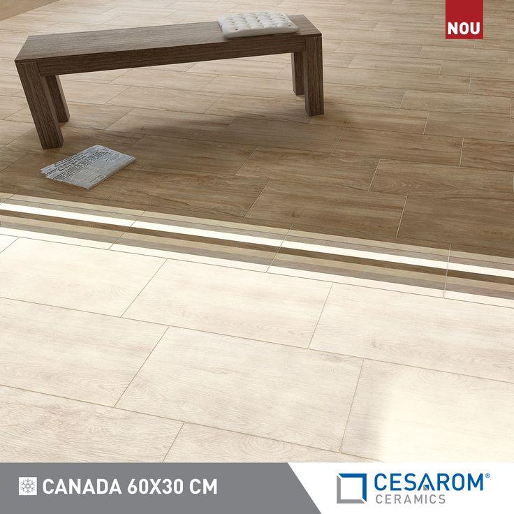 Gresie portelanata Canada 60x30cm, alb, maro, decor cu benzi