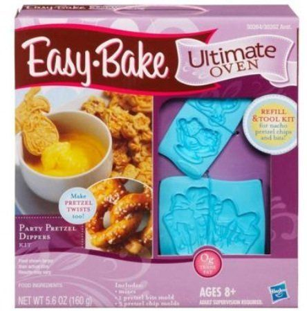 Easy Bake Ultimate Oven Refill And Tool Kit - Party Pretzels Dippers by Hasbro. $12.99. Ready, set, bake. When you want to make something fun and tasty, make pretzel treats with your Easy-Bake Oven and Snack Center and these delicious refill mixes. Simply mix up the ingredients from the food packets and place them inside the oven to bake. You'll love making Party Pretzels in your very own Easy-Bake oven. It includes 3 pretzel mixes, 1 nacho cheese sauce mix, 1 egg wash mix, 1 c...