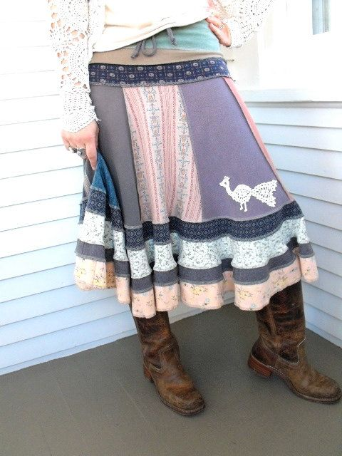 Upcycled Clothing Eco  long boho SKIRT patchwork  by zasra on Etsy, $110.00
