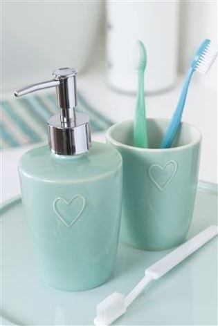 Teal Heart Ceramic Bathroom Accessories