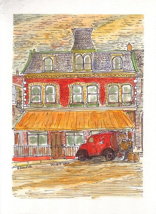 """""""The Brewpub"""" watercolour and pen and ink on paper. This is a painting of the Brewpub pub and restaurant. The Brewpub serves up Canadian food and craft beer, and is located in downtown Kingston Ontario. Enjoy! If you like this, please share on Facebook and other social media. Also please drop me a line or post comments!. Visit me at http://david-dossett.artistwebsites.com/ or on Facebook at https://www.facebook.com/ArtByDavidDossett"""
