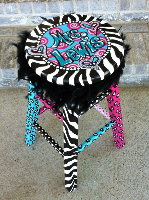 Personalized Funky Teacher Stool by LaurieColeDesigns on Etsy, $229.95
