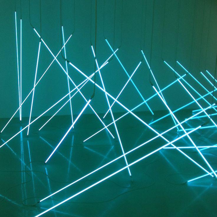 "Francois Morellet, ""The Avalanche (Part I),"" 1996. 36 tubes of blue neon"